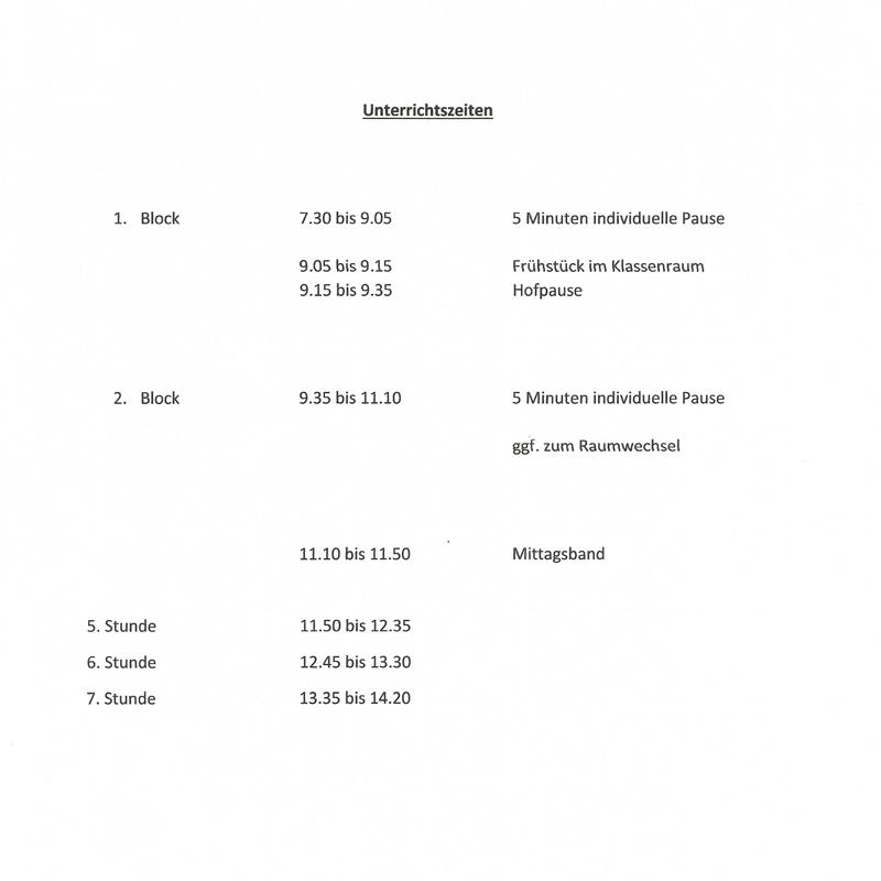 Unterrichtszeiten Grundschule am Burgwall, Temnitz, Wildberg